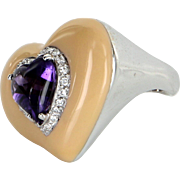 Heart Amethyst Enamel Diamond Cocktail Ring Vintage 18 Karat White Gold Estate Jewelry