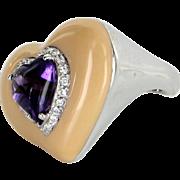 Heart Amethyst Enamel Diamond Cocktail Ring Vintage 18 Karat White Gold Estate Jewelry