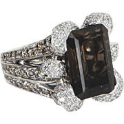 Smoky Topaz Diamond Cocktail Ring Vintage 18 Karat White Gold Estate Fine Jewelry
