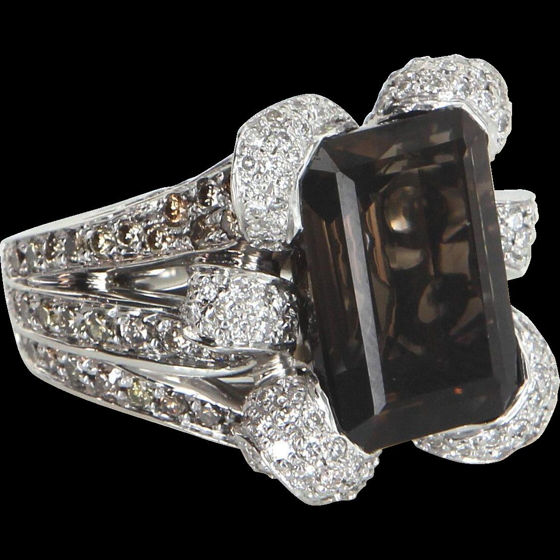 Smoky Topaz Diamond Cocktail Ring Vintage 18 Karat White Gold Estate Fine Jewelry