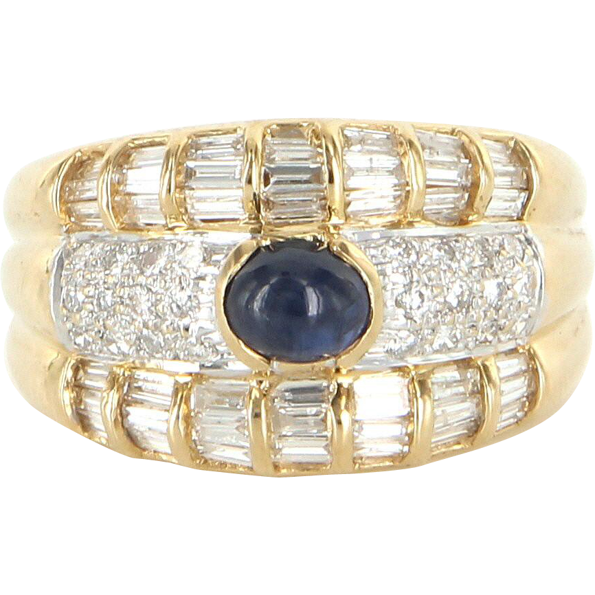 Vintage Sapphire Diamond Anniversary Cigar Band Ring 14 Karat Yellow Gold Estate Fine