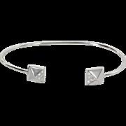 Pyramid Diamond Cuff Bracelet Estate 14 Karat White Gold Vintage Fine Jewelry