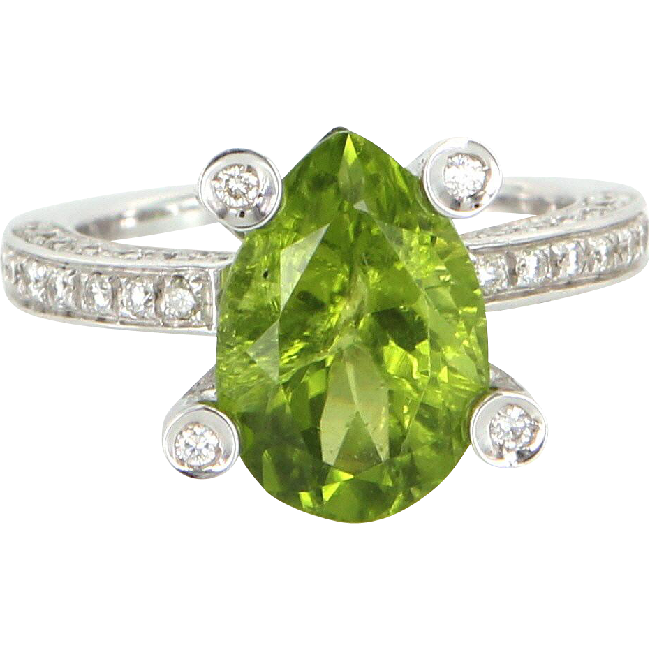 Antonini Peridot Diamond Cocktail Ring 18 Karat White Gold Fine Designer Jewelry