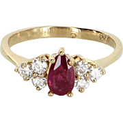 Ruby Diamond Ring Vintage 14 Karat Yellow Gold Estate Fine Jewelry Pre Owned 6