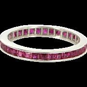 Ruby Eternity Ring Sz 6.25 Vintage 14 Karat White Gold Estate Fine Jewelry Pre Owned