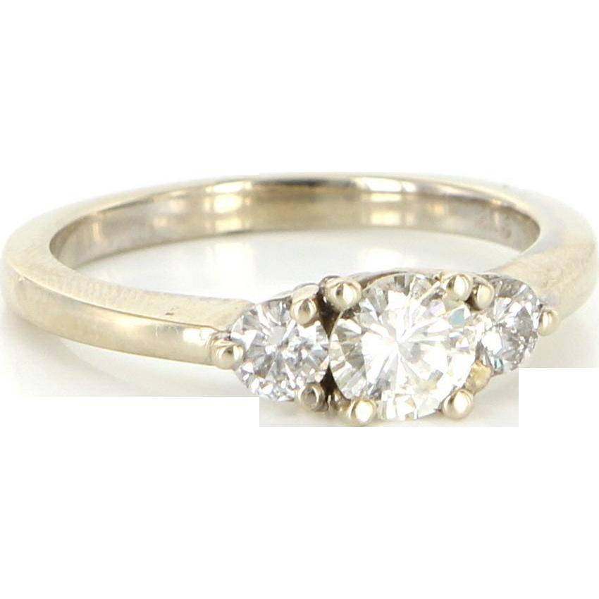 Estate 14 Karat White Gold Diamond Three Stone Trilogy Ring Fine Jewelry