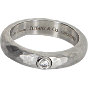 Tiffany & Co Diamond Hammered Ring Estate 18 Karat White Gold Estate Jewelry Sz 5.5