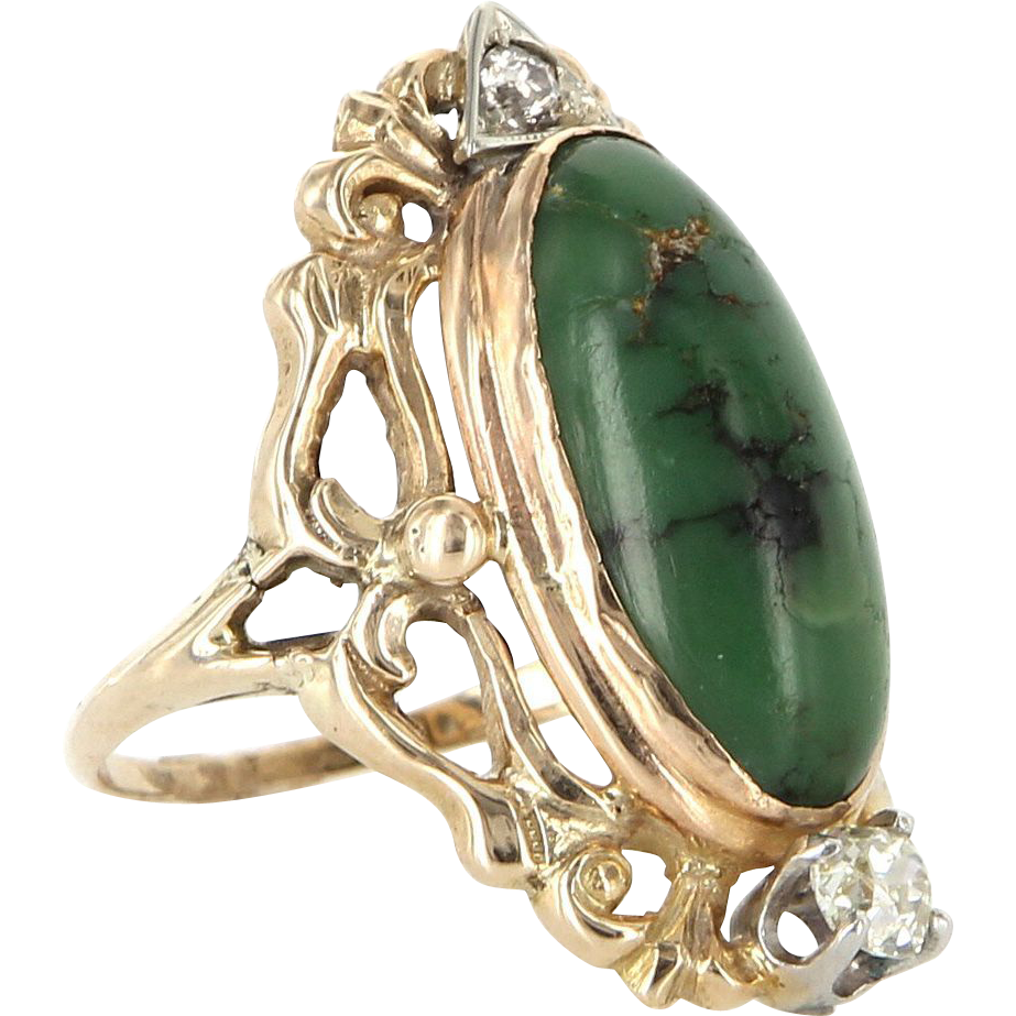 Antique Art Nouveau 14 Karat Yellow Gold Diamond Turquoise Cocktail Ring Estate