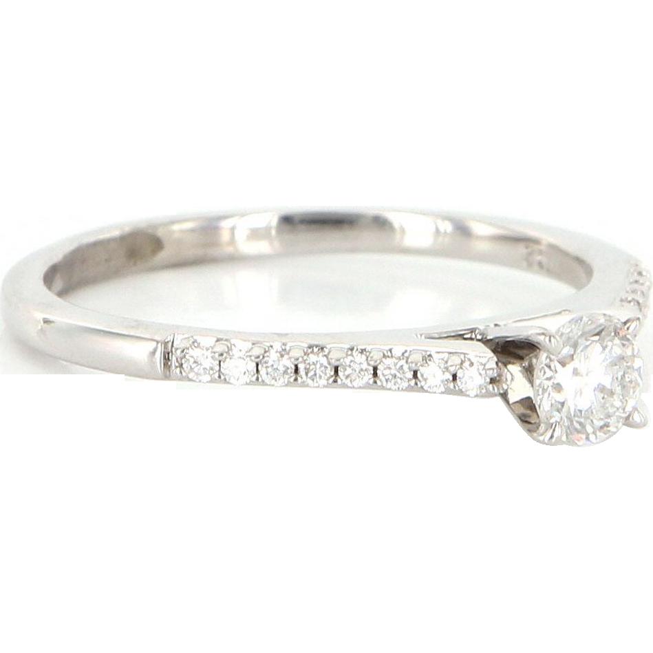 Estate 14 Karat White Gold Diamond Engagement Ring Fine Bridal Jewelry