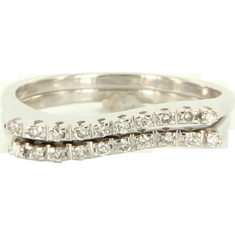 Estate 14 Karat White Gold Diamond Set of 2 Stack Band Rings Fine Jewelry