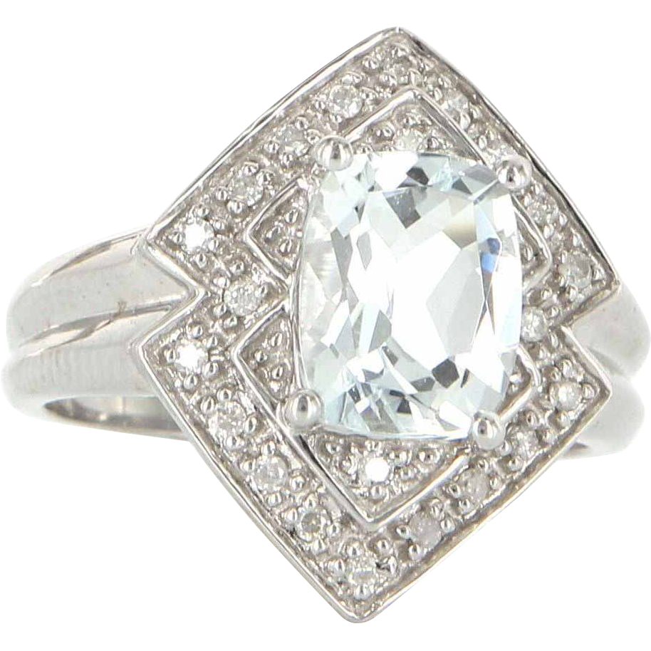 Estate 10 Karat White Gold Diamond Aquamarine Cocktail Ring Fine Jewelry