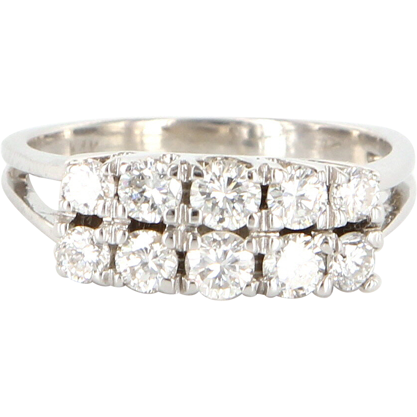 Vintage 14 Karat White Gold Diamond Double Row Anniversary Ring Band Estate
