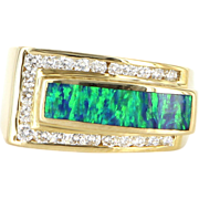 Estate 14 Karat Yellow Gold Diamond Opal Mens Ring Band Fine Jewelry