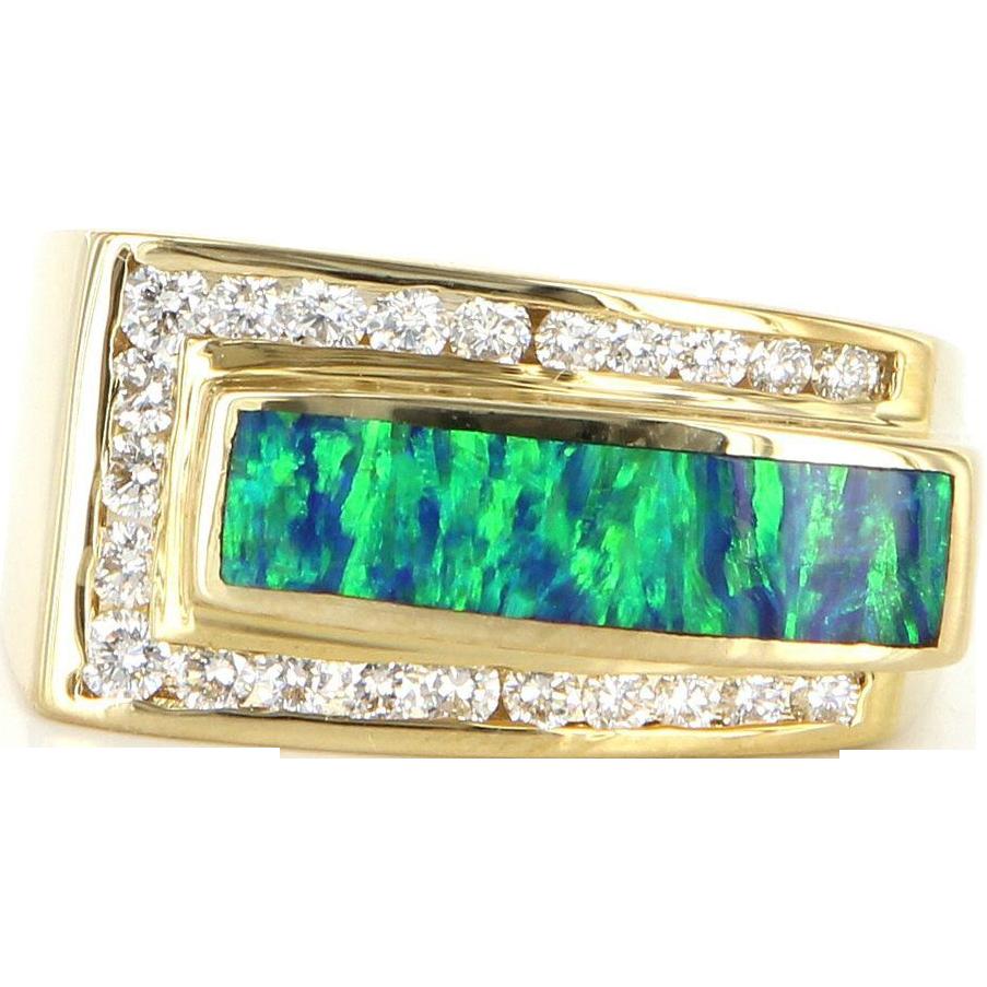 Estate 14 Karat Yellow Gold Diamond Opal Mens Ring Band Fine Jewelry