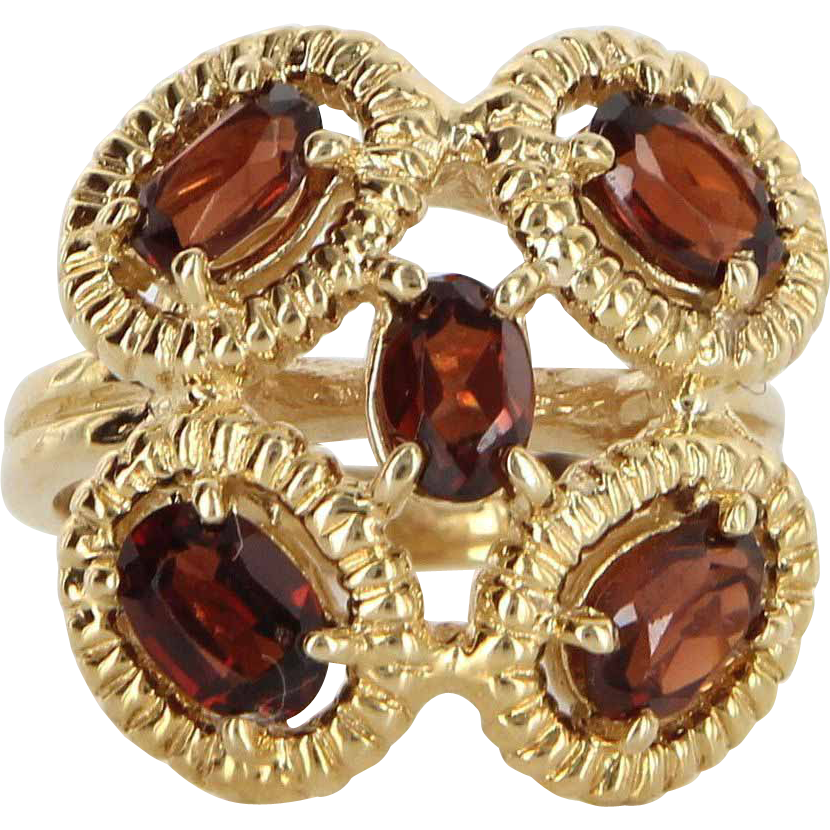 Vintage 14 Karat Yellow Gold Hessonite Garnet Cocktail Ring Fine Estate Jewelry