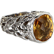 Citrine Diamond Wreath Cocktail Ring Vintage 14 Karat White Gold Estate Fine Jewelry