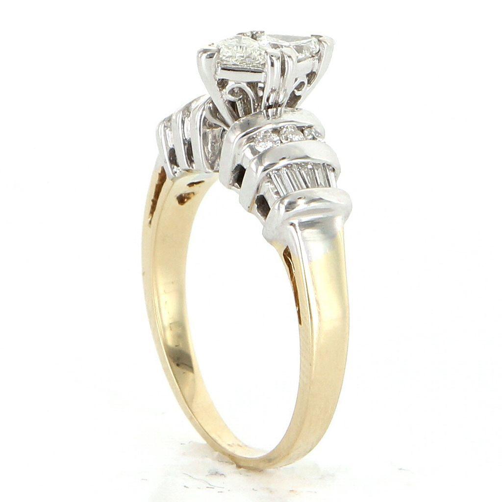 estate 14 karat yellow white gold engagement ring