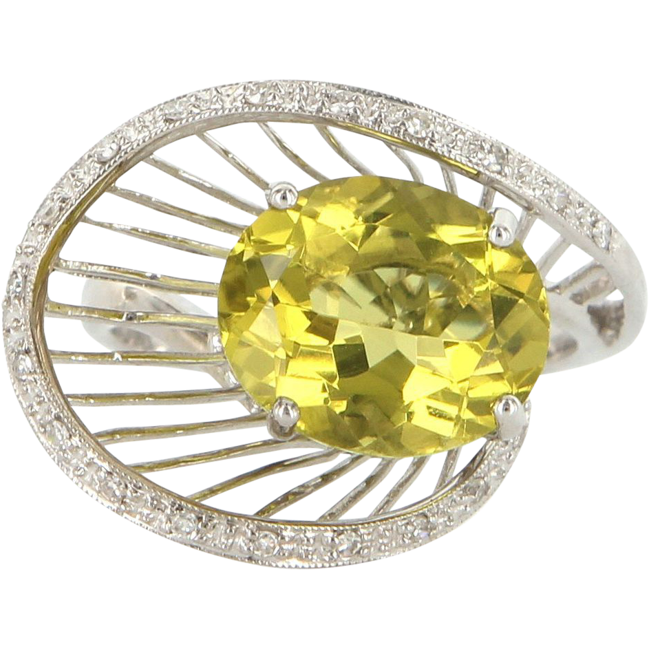 Estate 14 Karat White Gold Lemon Quartz Diamond Cocktail Ring Fine Jewelry