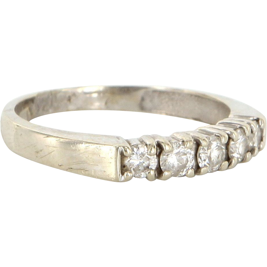 Vintage 14 Karat White Gold Diamond Anniversary Stack Band Ring Fine Jewelry