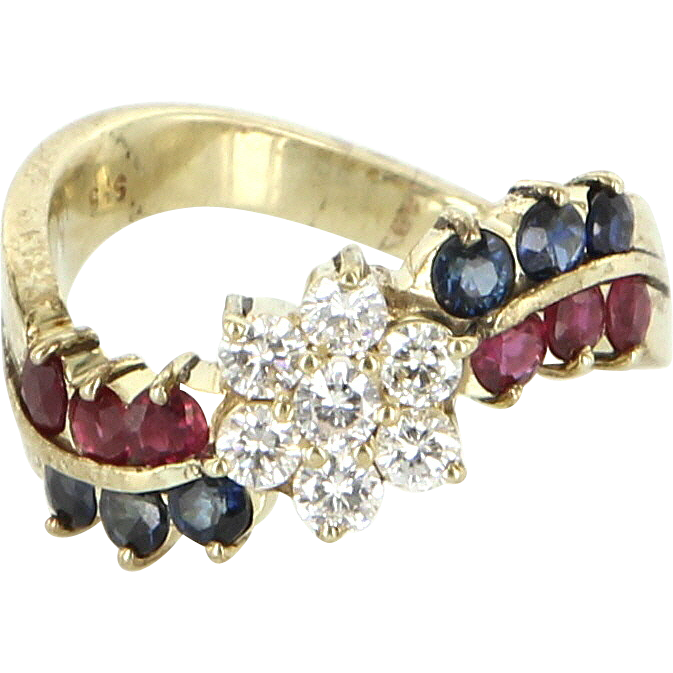 Vintage 14 Karat Yellow Gold Diamond Ruby Sapphire Daisy Flower Cocktail Ring