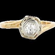 Art Deco 14 Karat Yellow Gold Diamond Engagement Right Hand Ring Fine Jewelry