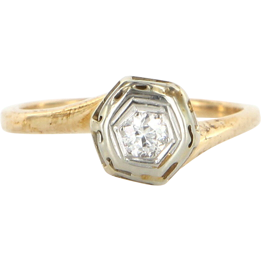 Art Deco 14 Karat Yellow Gold Diamond Engagement Right Hand Ring Fine Jewelry