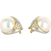 Estate 18 Karat Yellow White Gold Diamond Mabe Pearl Large Cocktail Earrings