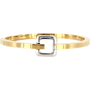 Estate 14 Karat Yellow Gold Square Bangle Bracelet Fine Jewelry Pre-Owned