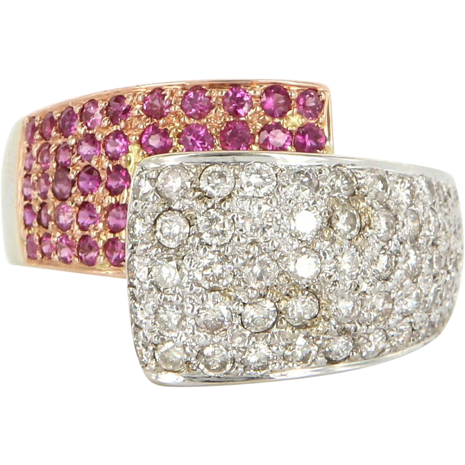 Estate 14 Karat Yellow Gold Ruby Diamond Bypass Cocktail Ring Fine Jewelry