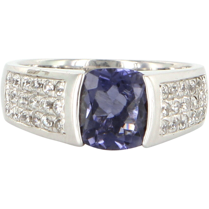 Estate 14 Karat White Gold Tanzanite Cubic Zirconia Ring Fine Jewelry Pre-Owned