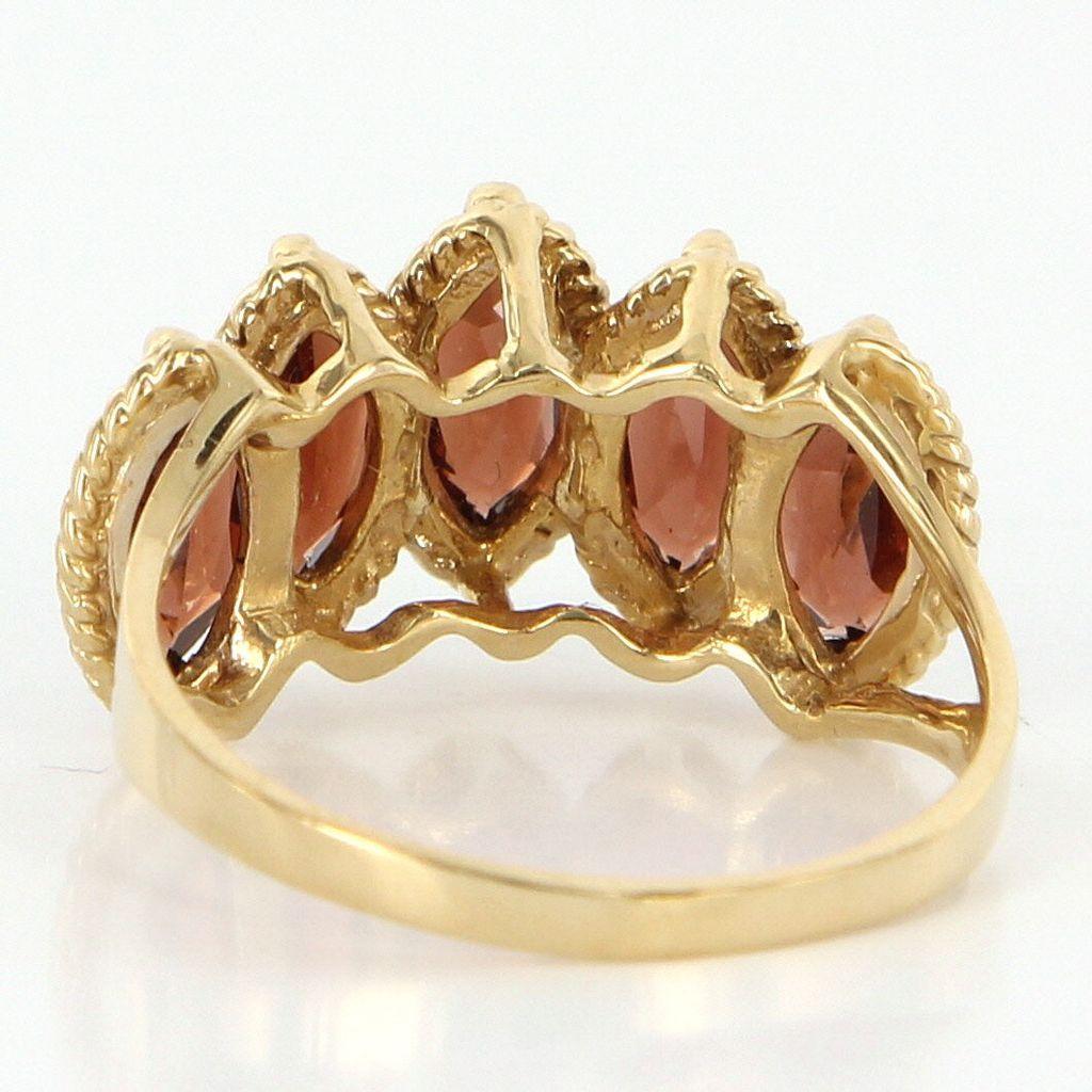 Estate 14 karat yellow gold garnet cocktail ring fine for 14 karats fine jewelry