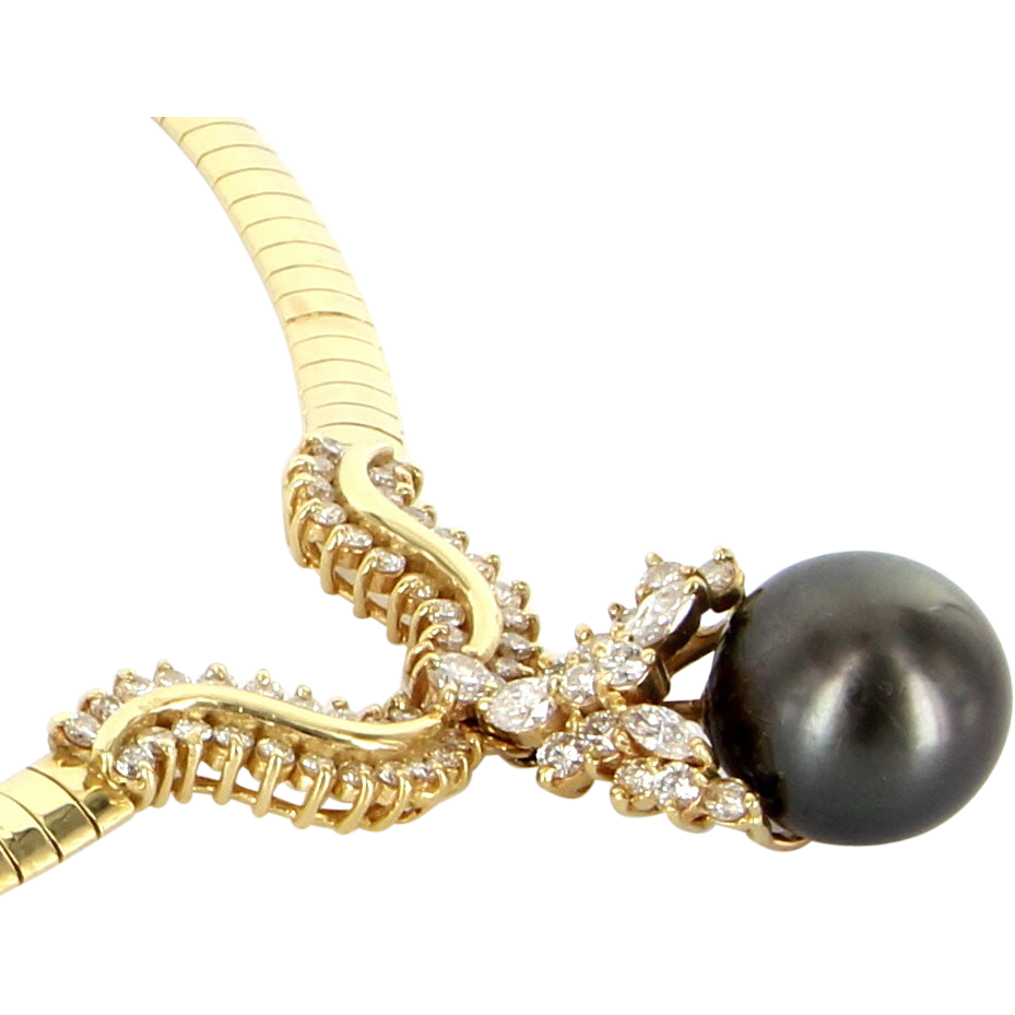 Vintage 14 Karat Yellow Gold Diamond Black Tahitian Pearl Statement Necklace