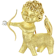 Van Cleef & Arpels Centaur Brooch Diamond Vintage 18 Karat Gold Estate Jewelry Signed