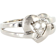 Vintage 14 Karat White Gold Diamond Heart Cocktail Ring Fine Estate Jewelry