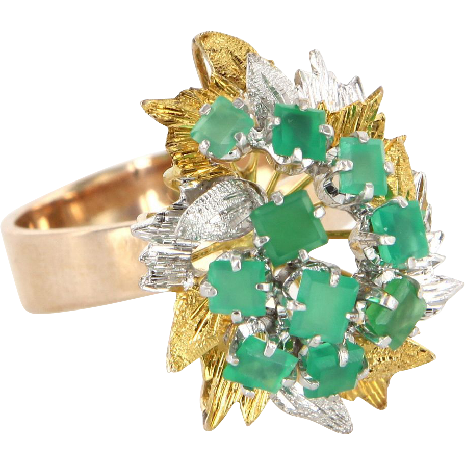 Vintage 14 Karat Yellow Gold Chrysoprase Large Leaf Cocktail Ring Estate Jewelry