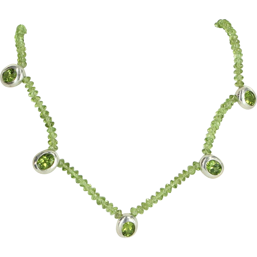 Peridot Necklace 925 Sterling Silver Heart Estate Fine Jewelry Vintage