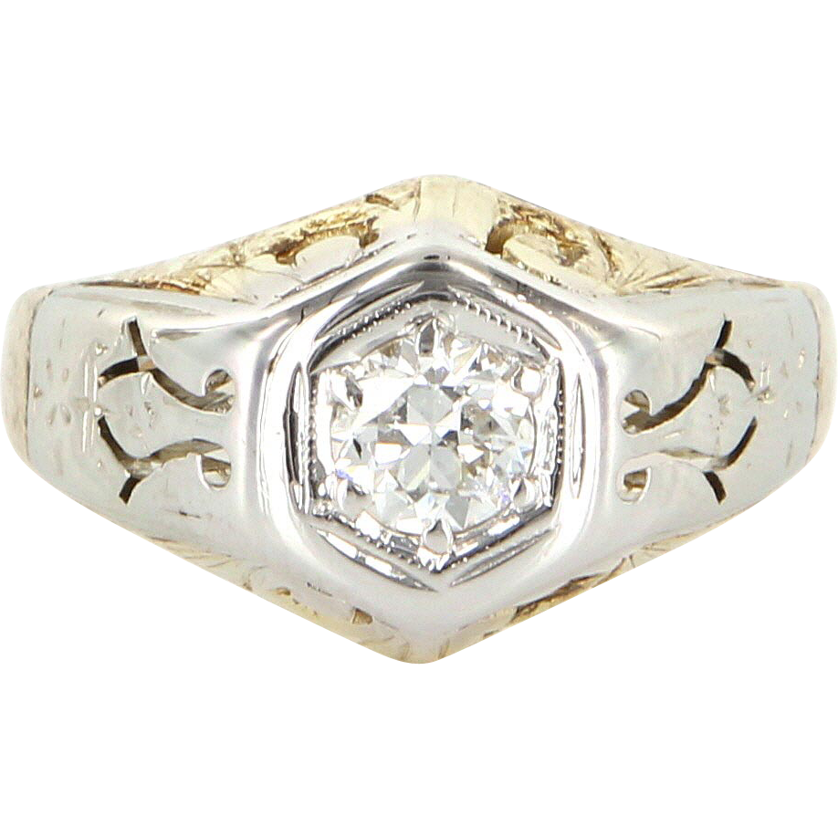 Art Deco 14 Karat White Yellow Gold Diamond Cocktail Ring Fine Jewelry