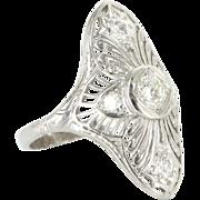 Art Deco 900 Platinum Diamond Filigree Cocktail Ring Fine Vintage Jewelry