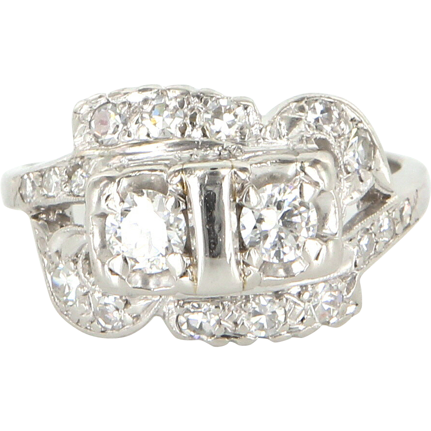 Art Deco 14 Karat White Gold Diamond Cocktail Ring Fine Vintage Jewelry