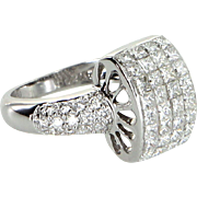 1.22ct Diamond Dome Cocktail Ring Estate 18 Karat White Gold Pre Owned Jewelry