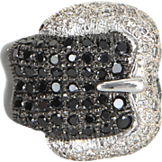 Black White Diamond Buckle Ring Estate 14 Karat Gold Vintage Jewelry Wide Band