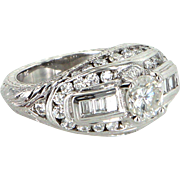 1.60ct Diamond 900 Platinum Ring Vintage Fine Jewelry Heirloom Estate Jewelry