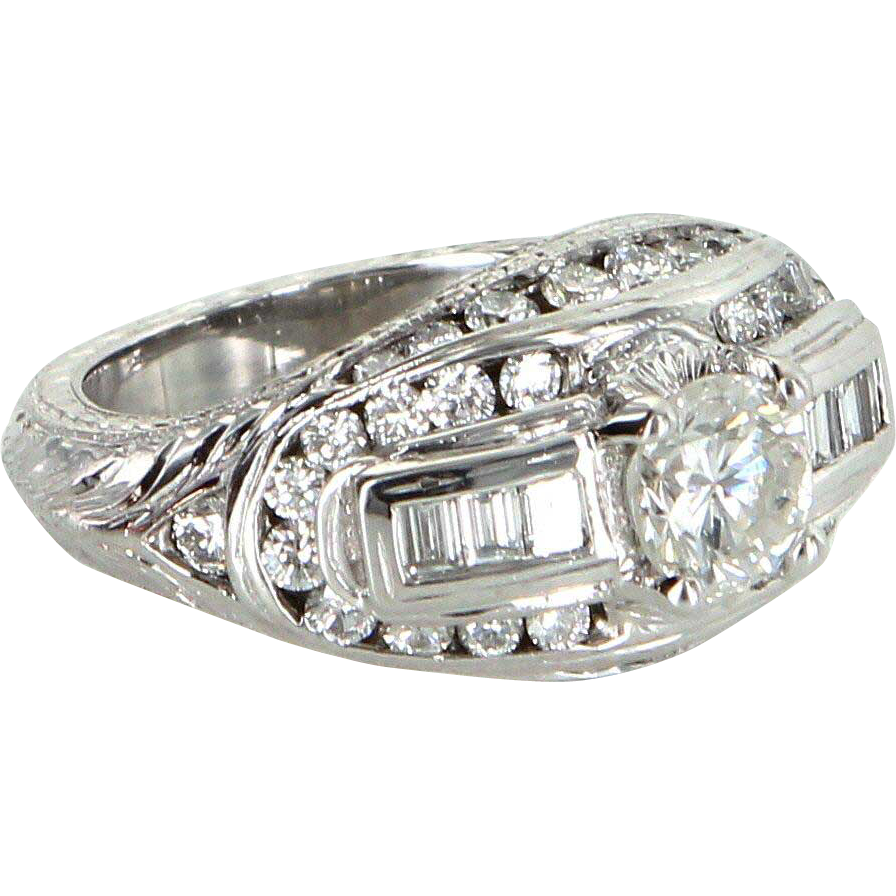 1.60ct Diamond 900 Platinum Ring Vintage Fine Jewelry Heirloom Estate Jewelry
