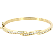 Vintage 14 Karat Yellow Gold Diamond Bangle Stack Bracelet Fine Estate Jewelry