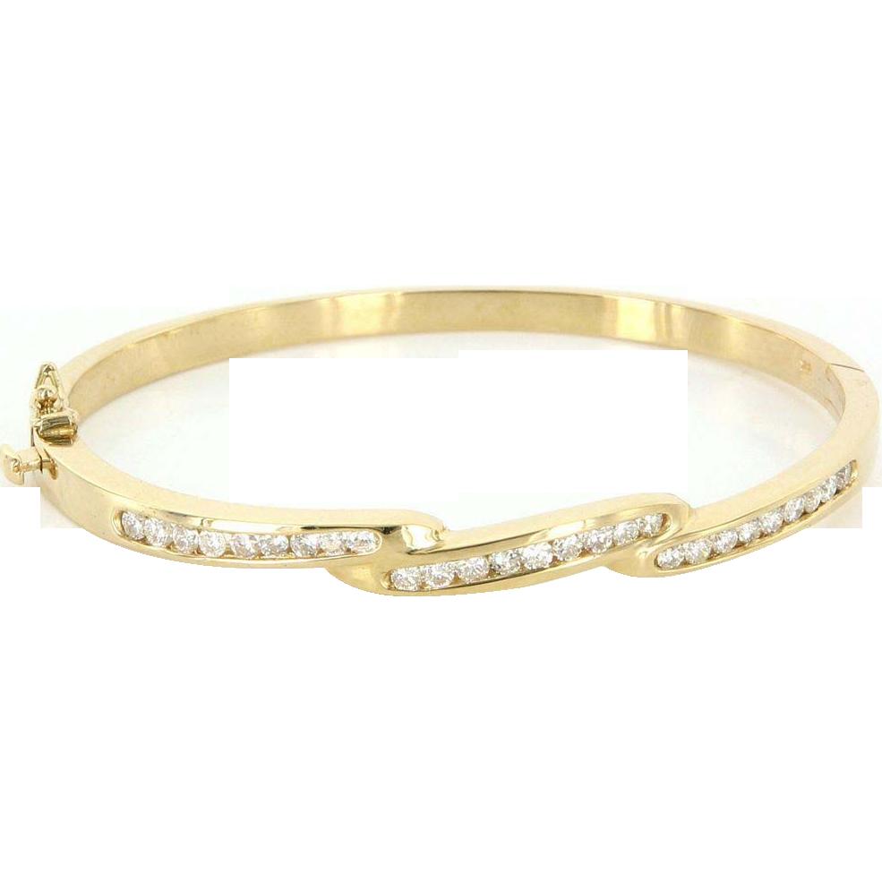 Vintage 14 Karat Yellow Gold Diamond Bangle Stack Bracelet Fine Estate Jewelry