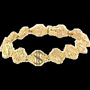 Vintage 14 Karat Yellow Gold Dollar Sign Nugget Bracelet Fine Estate Jewelry