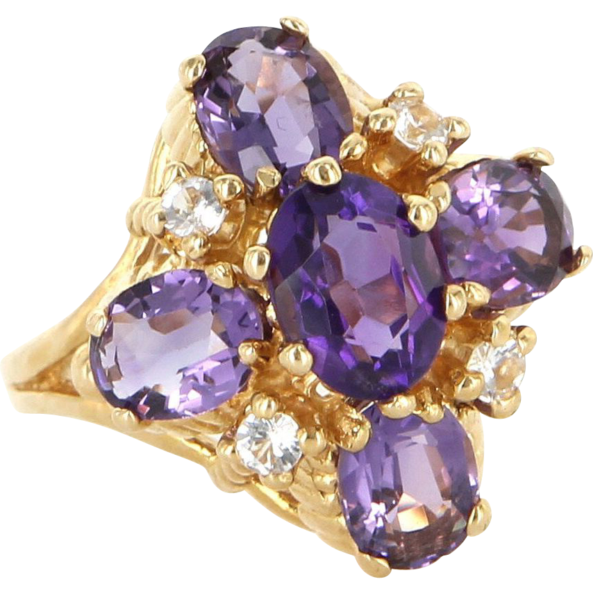 Estate 14 Karat Yellow Gold Amethyst Cubic Zirconia Cocktail Ring Fine Jewelry