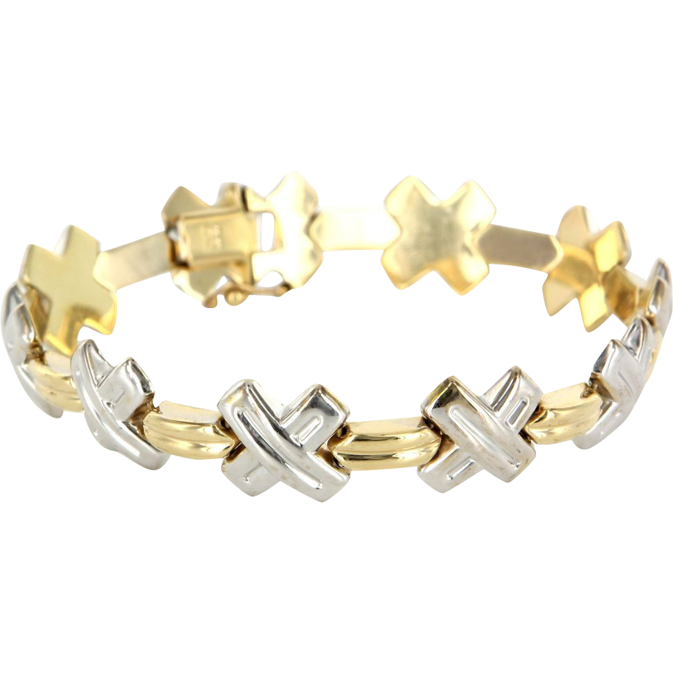 Estate 14 karat yellow white gold x cross bracelet fine for 14 karats fine jewelry