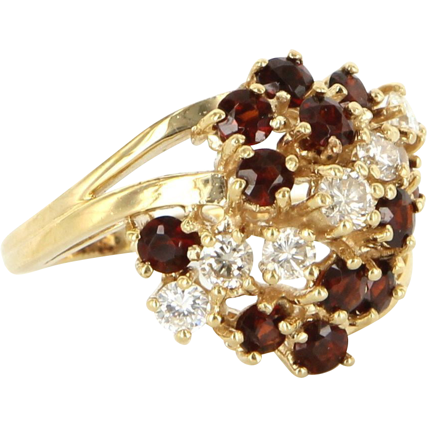 Vintage 14 karat yellow gold diamond garnet dome cocktail for 14 karats fine jewelry