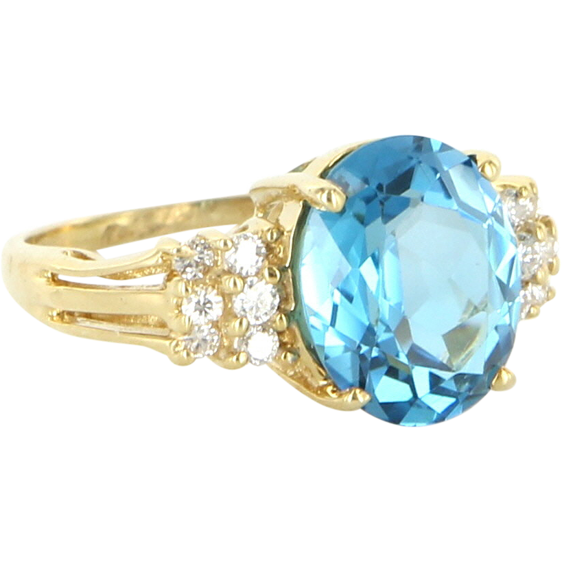 Vintage 14 Karat Yellow Gold Blue Topaz Diamond Cocktail Ring Fine Jewelry